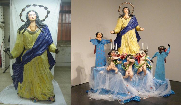 La Asunción Gloriosa de Ocaña (antes y después de la restauración).
