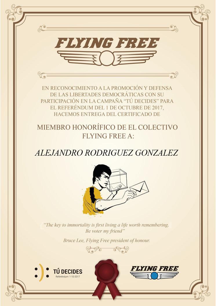 Diploma de miembros honoríficos de Flying Free