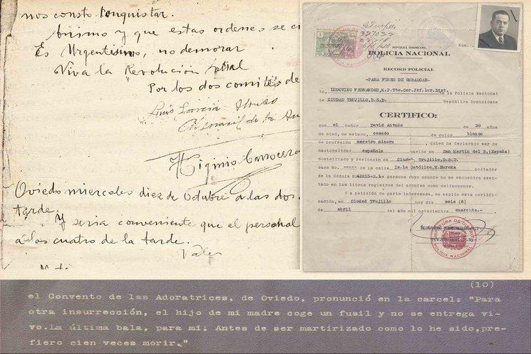 Orden del comité revolucionario firmada por Higinio Carrocera. Documento para embarcar de David Antuña. Testimonio del convento de las Adoratrices de Oviedo