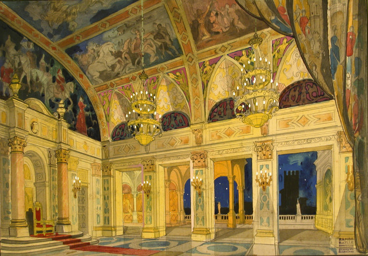 Escenografía de Rigoletto en la que cantó Ernestina Garfias
