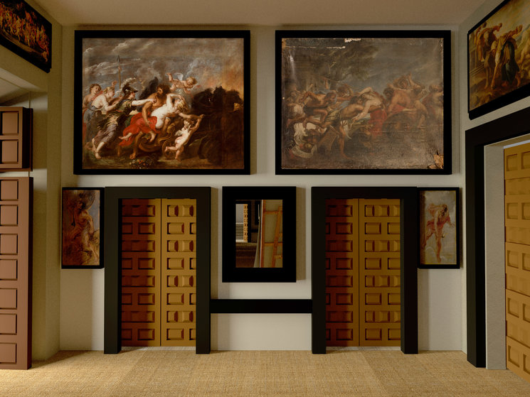 Esta es la pared Sur de la habitación, tal como la contemplaba Velázquez mientras pintaba. Los dos cuadros superiores se conservaban. Los otros dos son bocetos de Rubens, pues los originales se perdieron en el incendio del Alcázar
