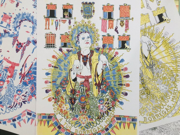 """Pack """"La Virgen de las Ramblas"""": risografía de Tomás A. Candeas representando a la María de las Ramblas, aparecida entre VPO"""