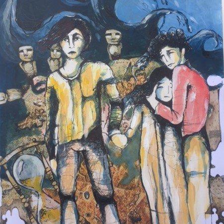 Protagonistas de El secreto de los milenios. Ilustración: Mario Cruz Moscoso