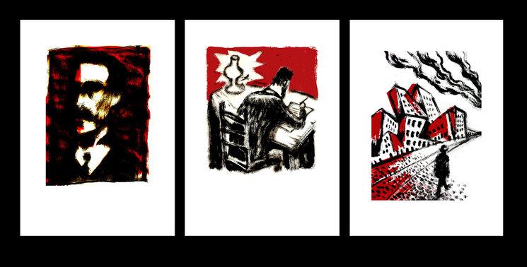 Serie de tres serigrafías a dos tintas 40 x 30 cm.