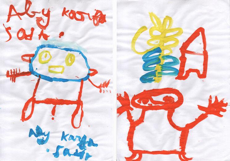 Ilustraciones de los niños que realizaron el taller con Javirroyo