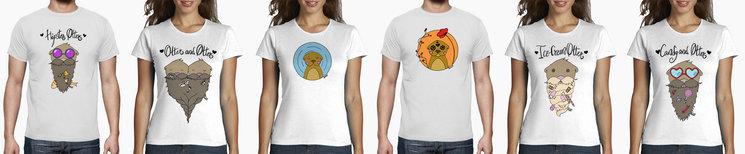Los seis diseños disponibles para camisetas, tazas, imanes y pegatinas