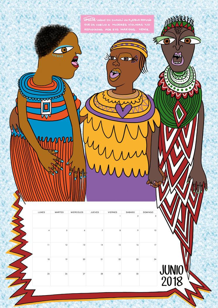 Prototipo de calendario mes de Junio 2018. Ilustracion sobre Umoja