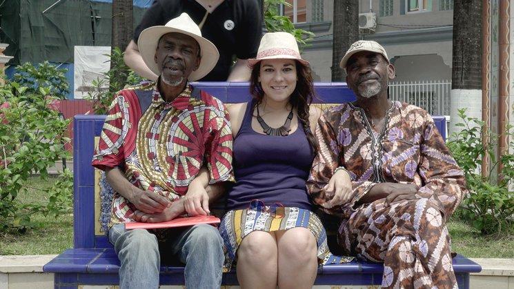 Rocío con Marcelo (derecha) y el músico Fausto Luís.