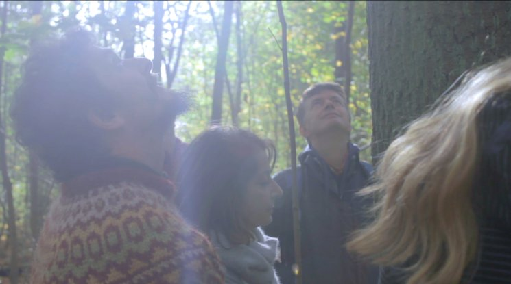 Los amigos de Hasso visitando su árbol