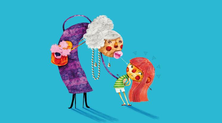 """Marta, sufriendo el """"ataque"""" de una abuela besucona"""