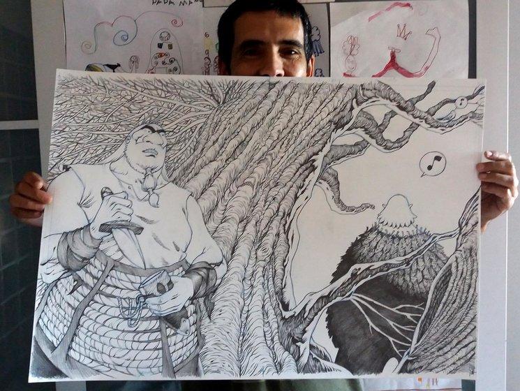 dibujo original de las guardas del álbum