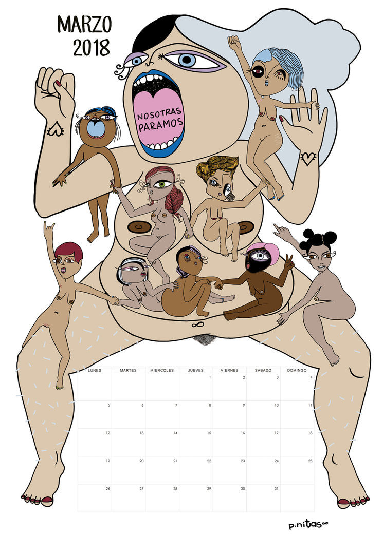 Ilustración del calendario del mes de Marzo 2018, sobre la huelga general de las mujeres en Islandia | 1975