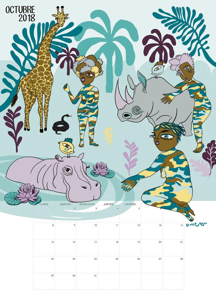 Ilustración del calendario del mes de Octubre | Black Mamba | South África