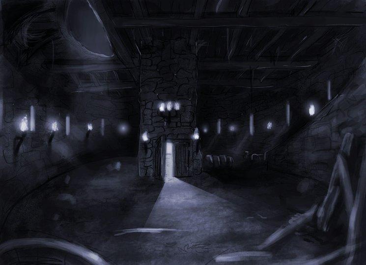 Boceto que describe el interior de uno de los lugares por donde pasarán en dirección a Medlur.