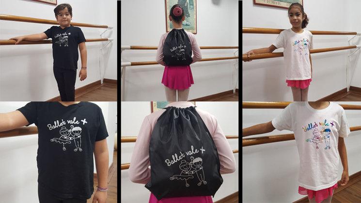 Als nostres petits ballarins Carolina, Pelayo i Mariana els encanten les samarretes i motxilles de Balletvale +. A nosaltres també. I a tu?