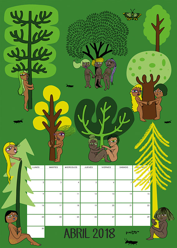 Prototipo del calendario del mes de Abril 2018 | Movimiento Chipko