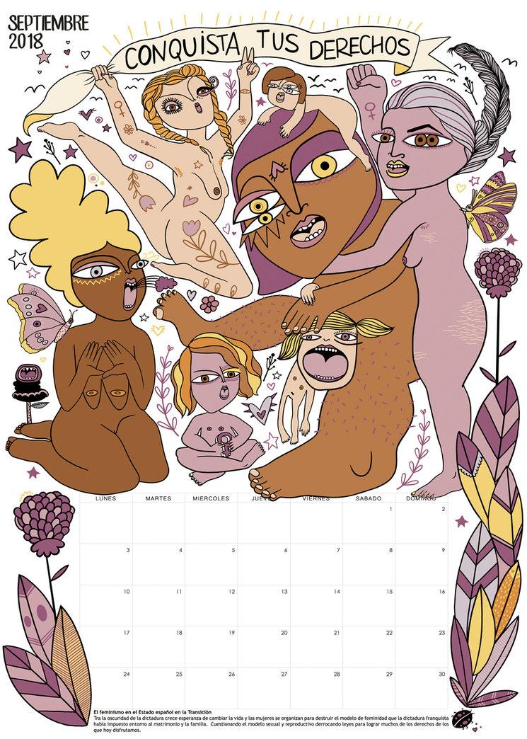Prototipo del calendario del mes de Septiembre 2018 | el feminismo en el Estado español durante la Transición