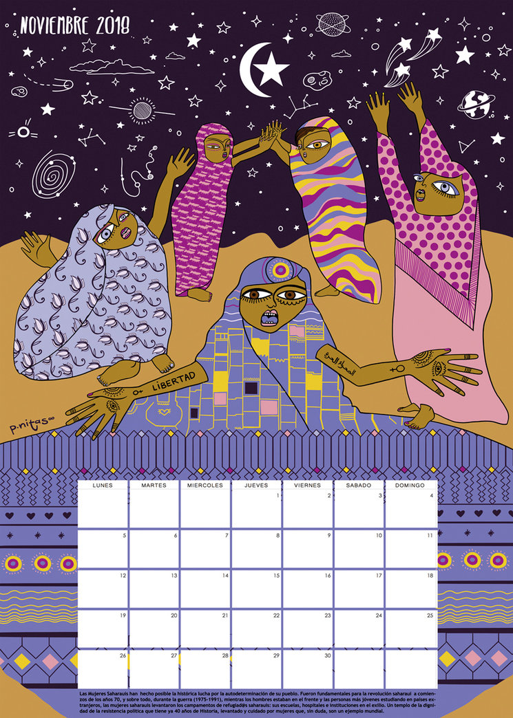 Prototipo del calendario del mes de Noviembre 2018 | Mujeres saharauis