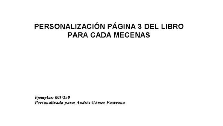 Personalización para mecenas de cada libro en la página 3