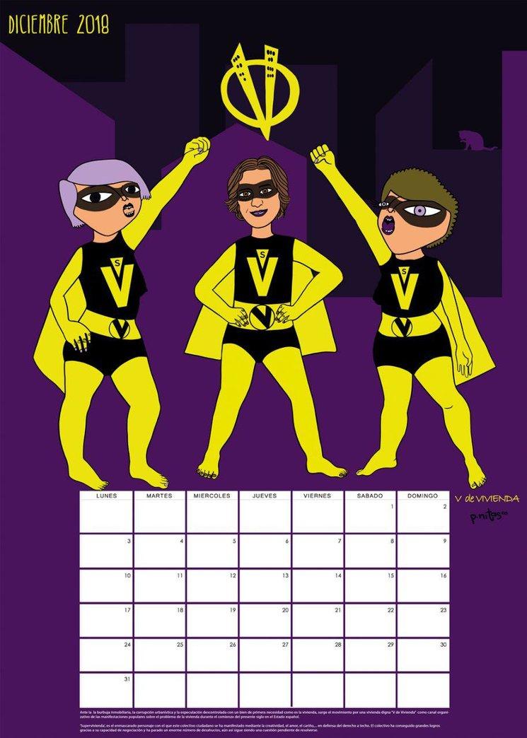 Prototipo del calendario del mes de Diciembre 2018   V de Vivienda