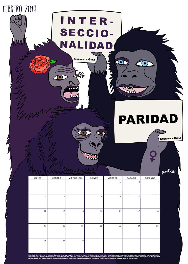 Prototipo del calendario del mes de Febrero 2018 | Guerrilla Girls