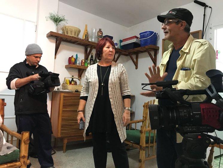Equipo de Herencia durante el rodaje en la Habana