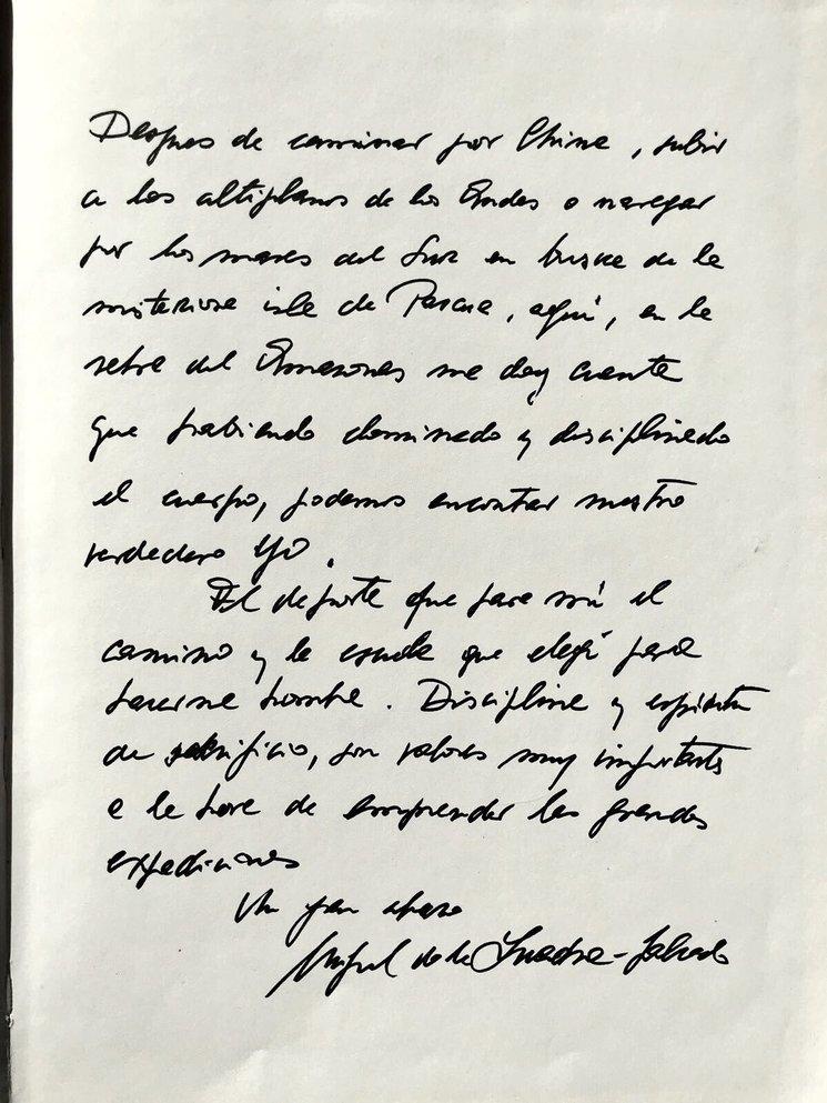 Carta de Miguel de la Quadra-Salcedo que nos llegó desde el Amazonas después de que su hija Sol la encontrase y decidiese compartirlo con nosotros