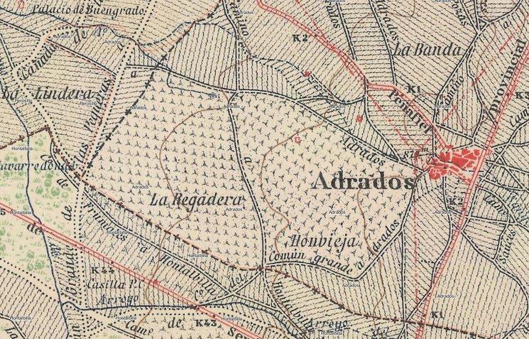 En este plano se sigue haciendo mención como nombres referentes La Regadera y Honvieja y los caminos limítrofes.