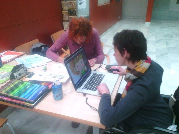 Amparo Baixauli y yo trabajando en la EASD