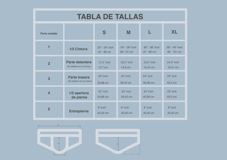 Tabla de tallas Slip