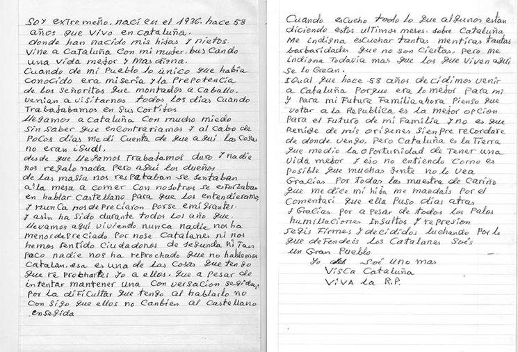 Carta de un extremeño nacido el 1936 que hace 58 años que vive en Catalunya y defiende la República catalana