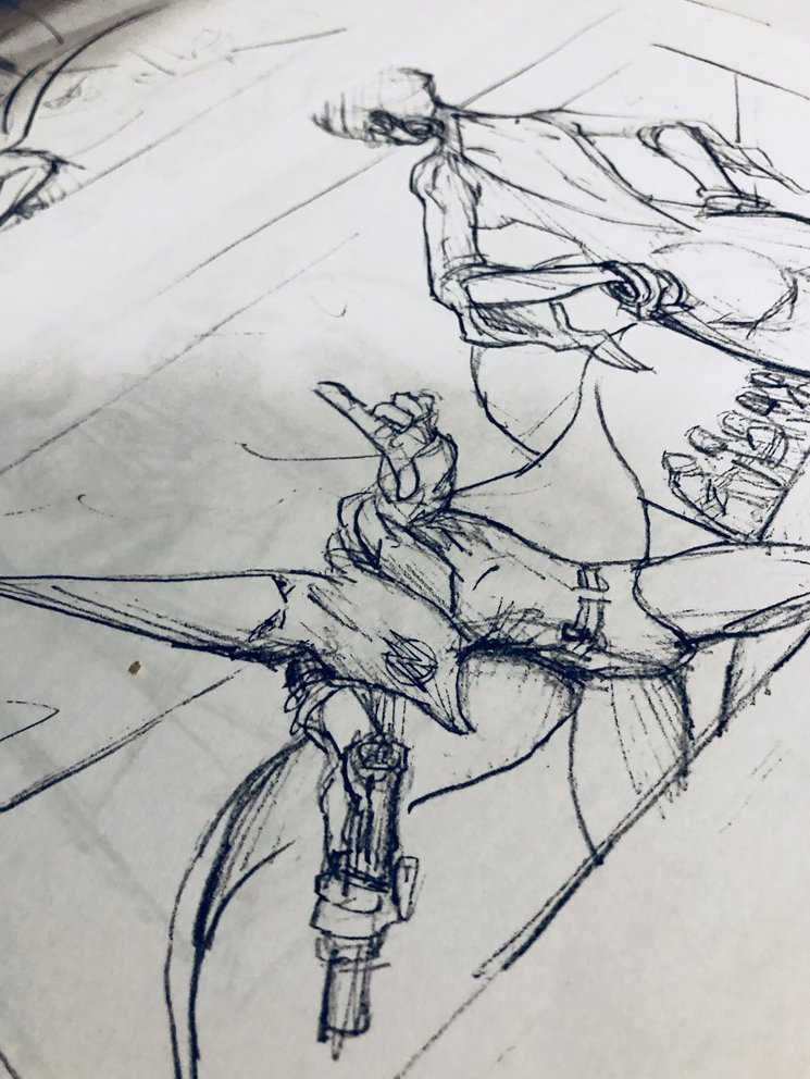 Dibujos preparatorios del cómic