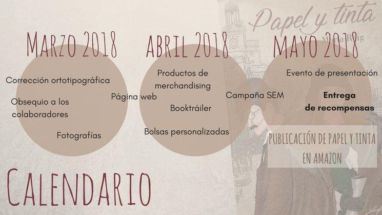 Calendario de acciones del proyecto Papel y Tinta