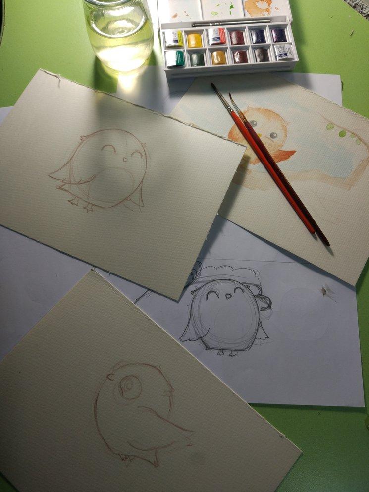 Bocetos de uno de los 5 microcuentos. El mochuelo