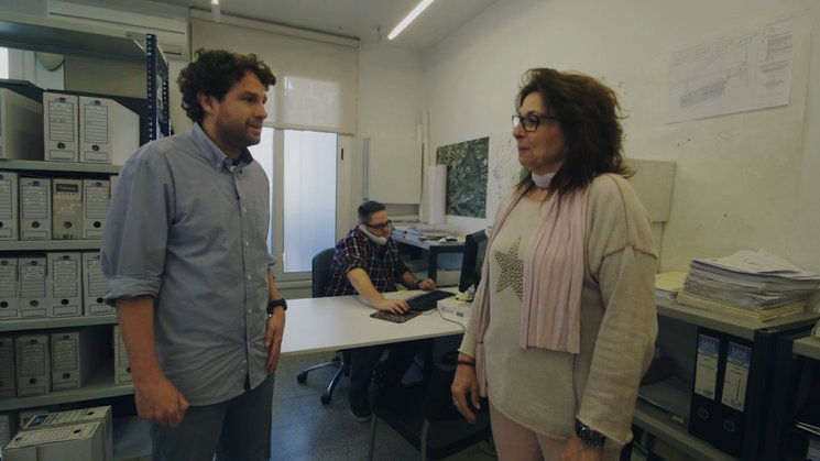 Frame del programa pilot sobre Vilanova del Vallès. Entrevista a la primera treballadora municipal de Vilanova del Vallès.