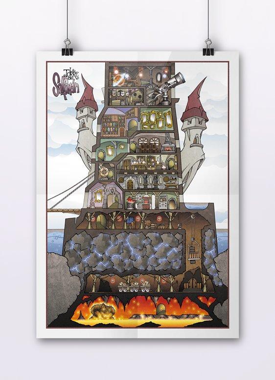 Póster en A3 con el plano de la Torre de Salfumán