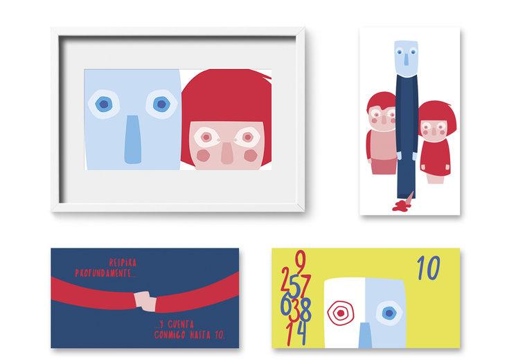 Pack de 4 Miniprints con ilustraciones del libro a color sobre papel 400g acabado mate FSC®; 23.5 x 12.5 cm.