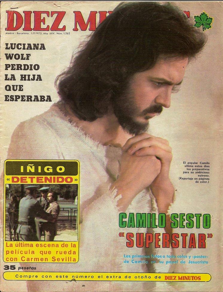 Camilo Sesto en portada Revista Diez Minutos 1975