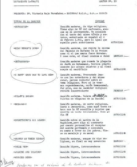 Manuscrito Original de la Censura contra Jesucristo Superstar 1973