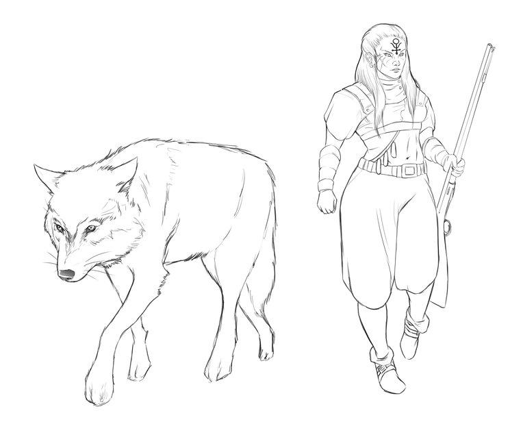 Boceto no finalizado de Señora de las Bestias y compañero animal (concept-art) - Rafa Majano