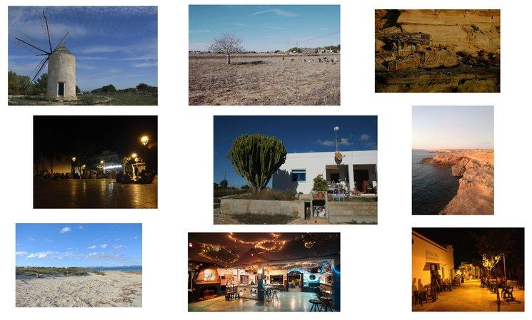 molinos, campos, plaza, casa Dana, Blue Bar, Fonda Pepe, rocas, arena