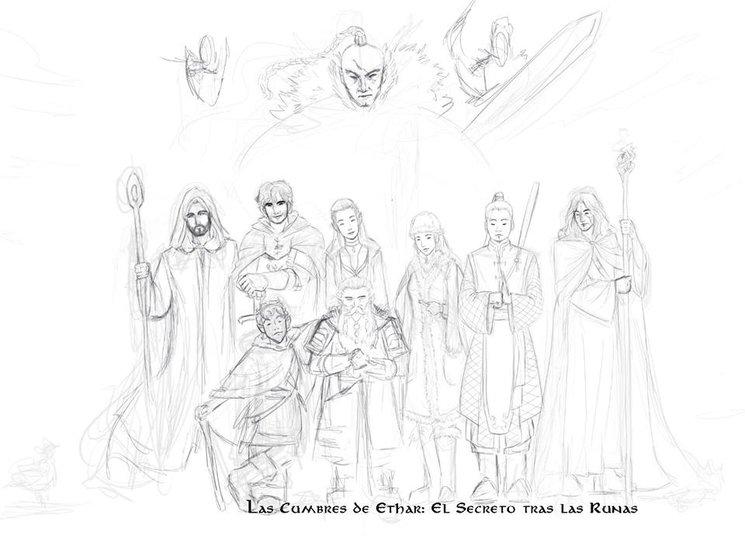 Boceto de los principales personajes del libro