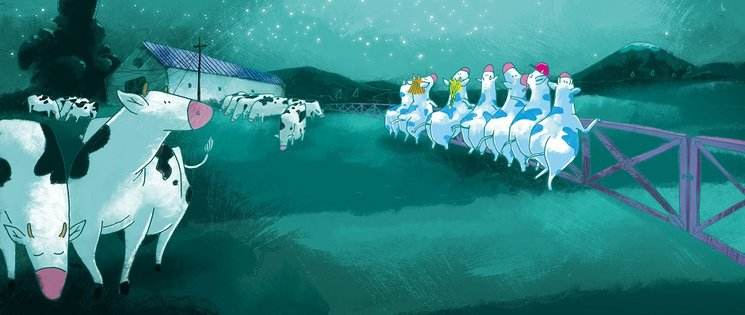 Siete vacas azules listas para la aventura