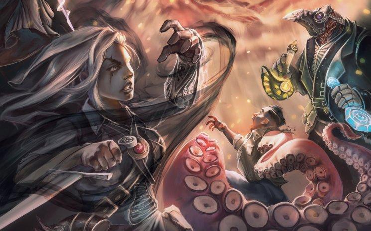Cazadora de Sombras, Abominación y Doctor de la Peste enfrentándose al Mal encarnado - Detalle de portada - Manuel Piedra