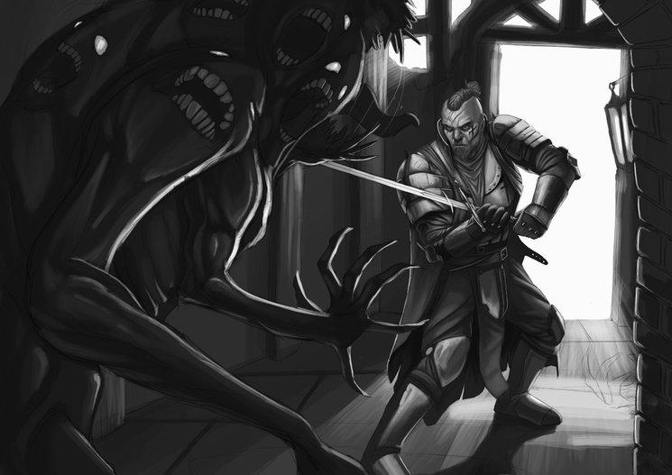 Boceto de Soldado de la Fe peleando contra Demonio menor de la Gula - Rafa Majano
