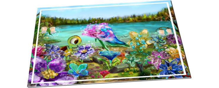 Una postal de Noovie y Arktic en la Pradera de Cristal, una lámina a todo color de tamaño 15x10 cm. aproximadamente.