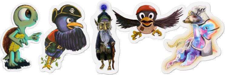 Pegatinas troqueladas, de unos 6 cm., con cinco de los personajes más interesantes del libro.