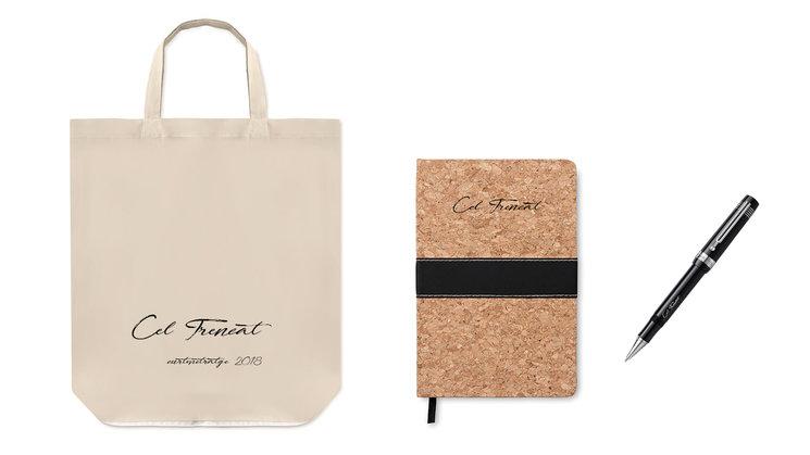 Pack bossa foldy, agenda de suro i el bolígraf