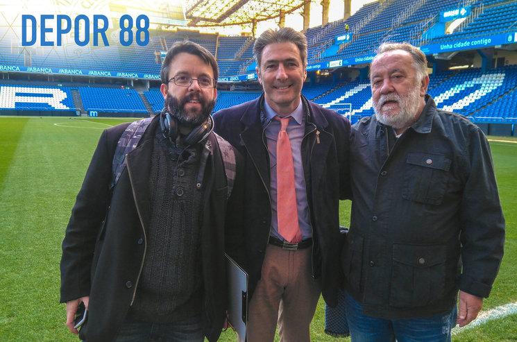 Iago Váquez (productor y guionista), Vicente Celeiro y Mocho Viña (periodista).