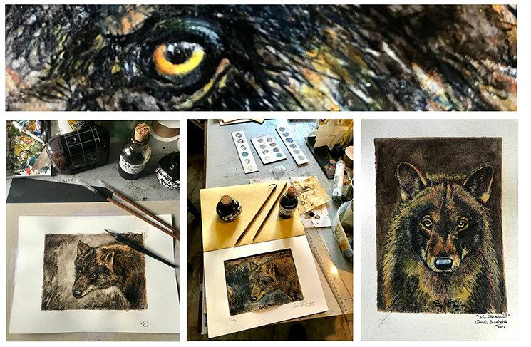 Técnica mixta con tintas ferrogálica y china+lápices, témpera y acuarelas